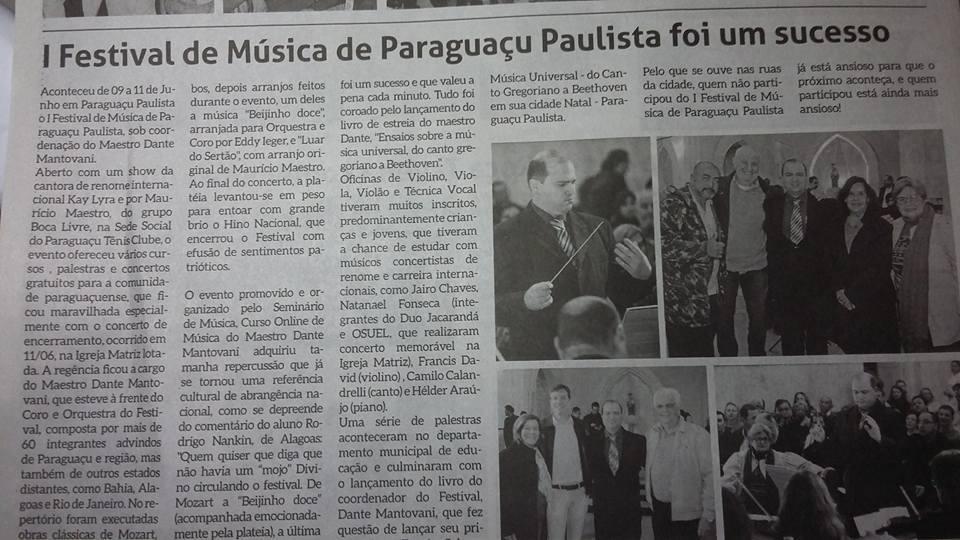 Jornal A Semana noticia sucesso do I FEMUSPP!