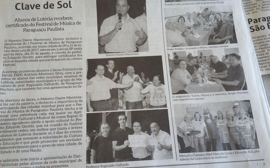 Festival de Música de Paraguaçu Paulista é destaque mais uma vez na imprensa escrita.